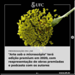Peça gráfica da exposição Arte Sob o Microscópio 2020